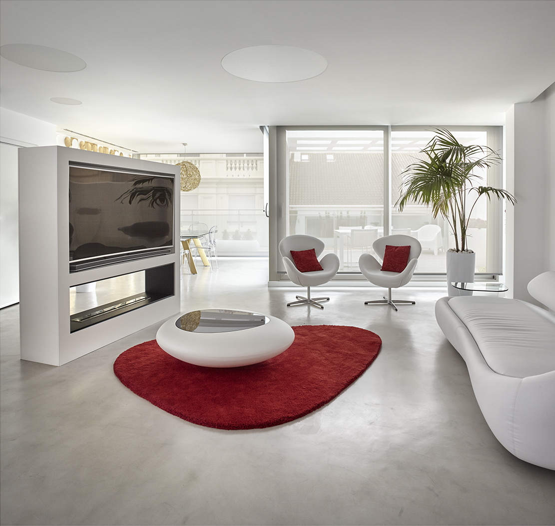 Microcement living/dining room floor Hernán Cortés
