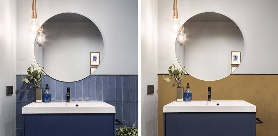 铺微水泥 Calabaza 色在浴室墙砖