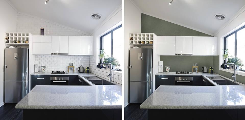 铺涂微水泥 Kiwi色在厨房瓷砖