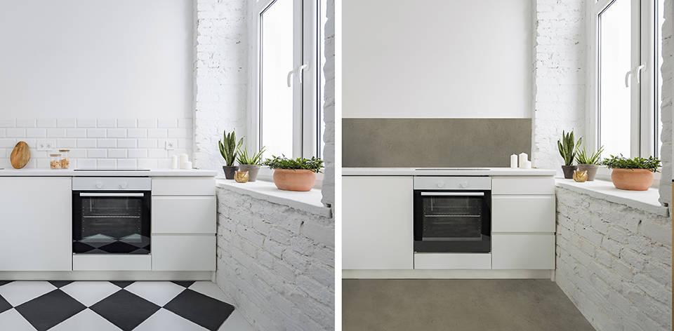 铺微水泥Piedra Paris色在厨房墙砖和地砖