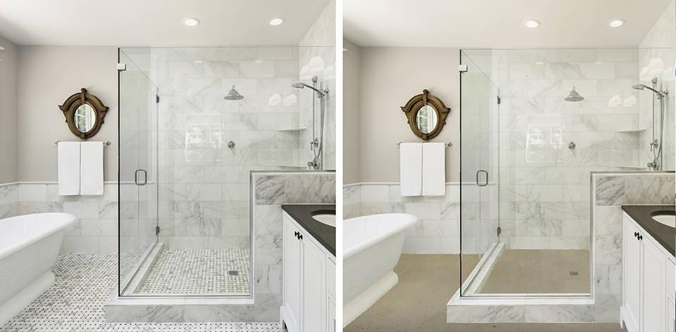 铺微水泥 Sahara色在浴室地砖。