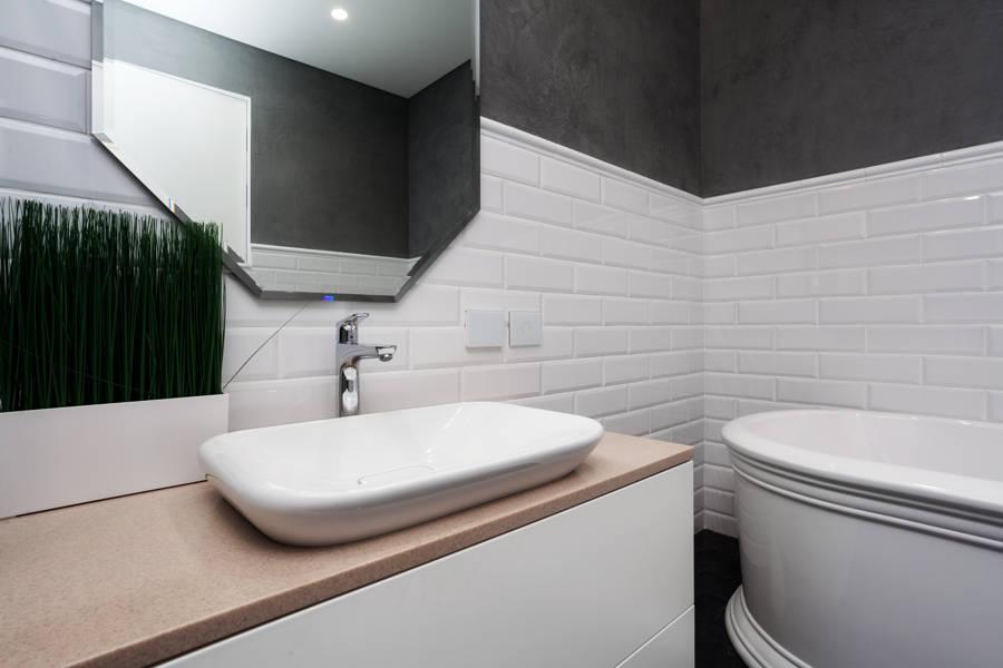 baño con azulejos como revestimiento de pared