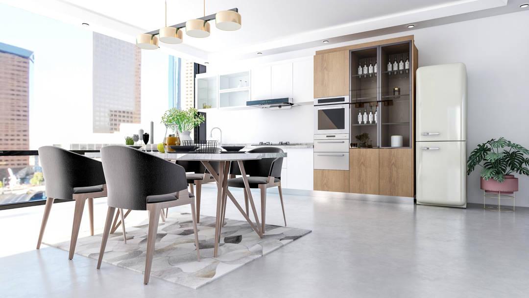 Cucina pavimento in microcemento grigio e mobili in legno
