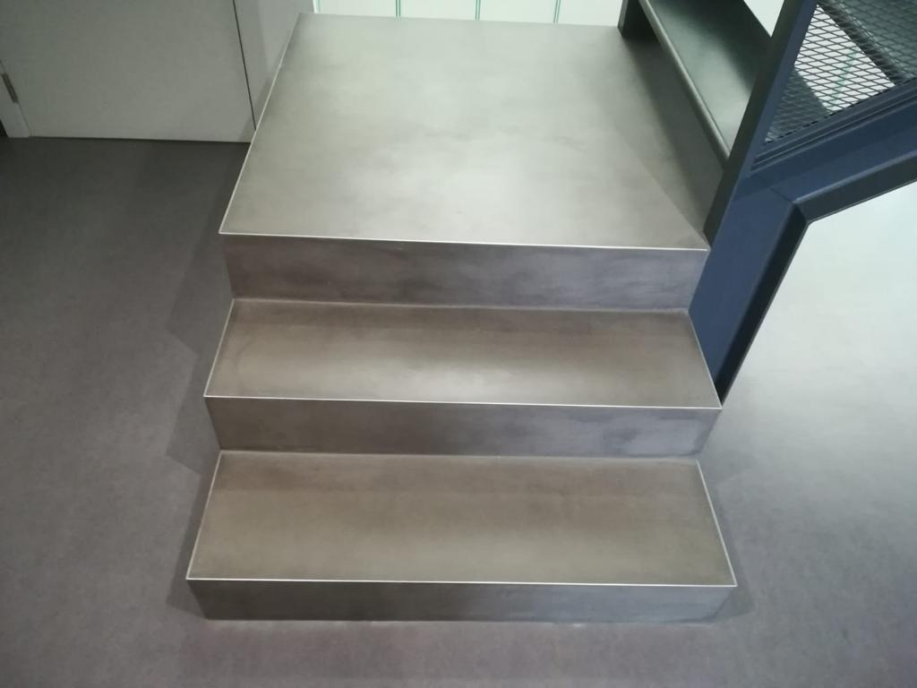 Exterior microcement staircase in Steel colour