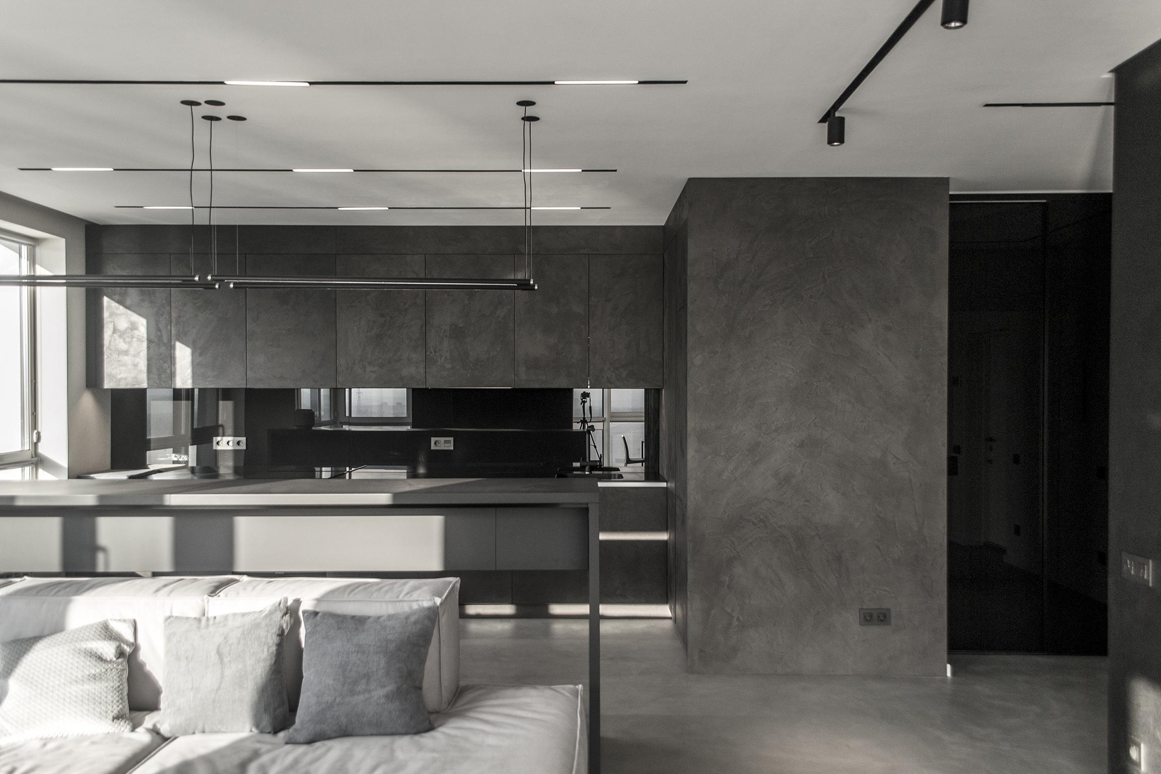 Grey microcement kitchen island