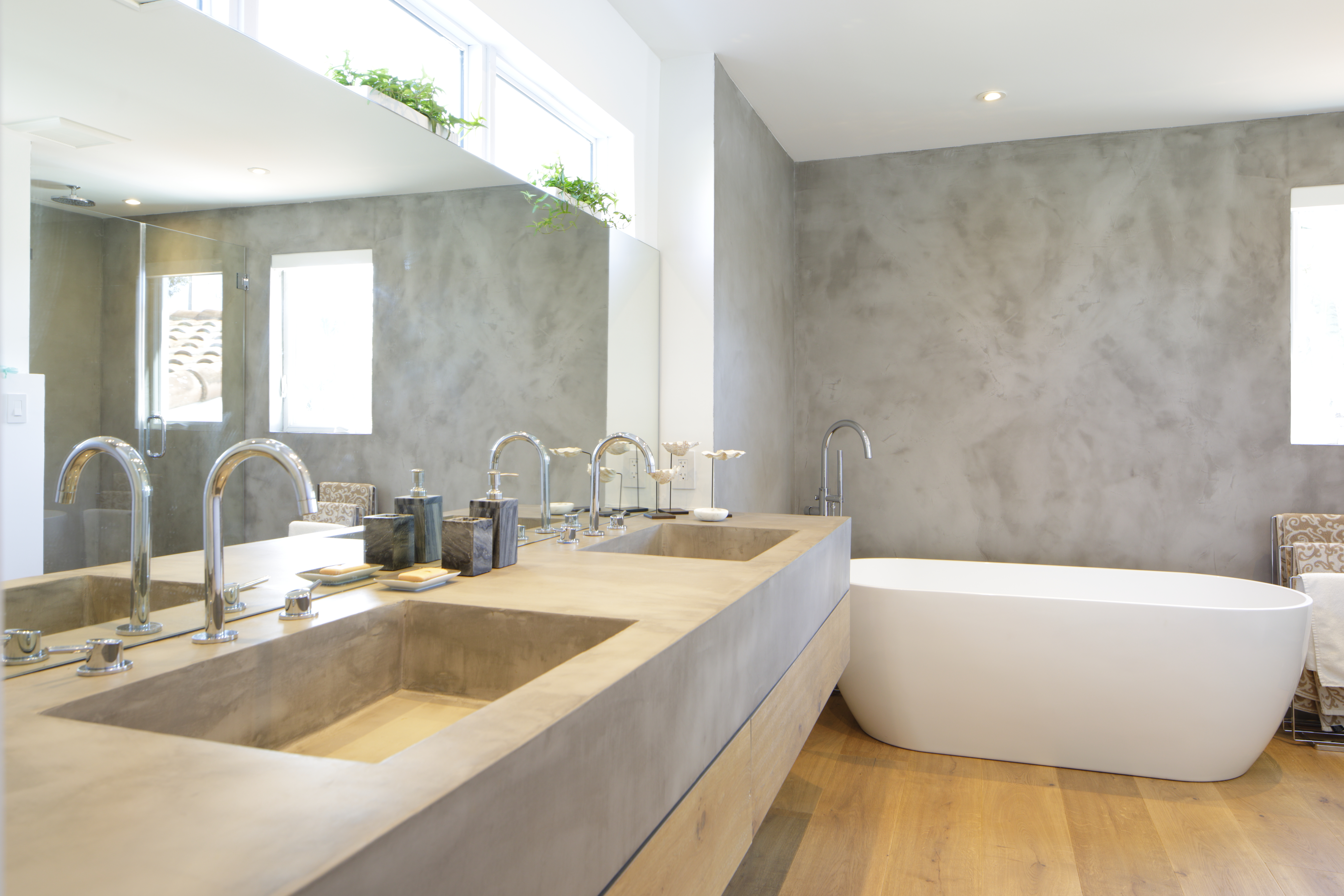 Topciment grey microcement bathroom
